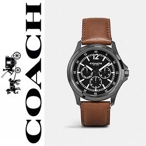 COACH MEN'S  BARROW WATCH, W5007, BLACK/SADDLE